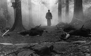 Picture forest, trees, fog, samurai, black and white, corpses, nationality