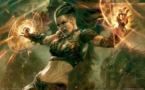 Wallpaper warrior, fantasy, hellgate london, magic, girl
