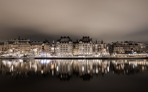 Picture night, reflection, home, lights, Stockholm, Sweden, ships, the Bay of Nybroviken, Strandvegen quay