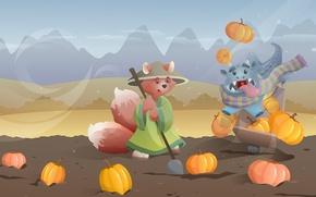 Picture animals, mountains, Wallpaper, dinosaur, pumpkin, Fox, truck, shovel