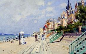 Picture landscape, picture, Claude Monet, promenade, The boardwalk at Trouville