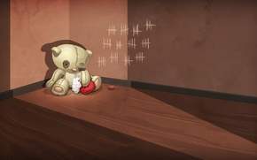 Picture sadness, abandoned, loneliness, wall, sadness, betrayal, toy, heart, bear, bear, angle, floor, wounded, wool, notches