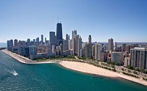 Picture road, sea, beach, landscape, coast, home, skyscrapers, Chicago, Chicago
