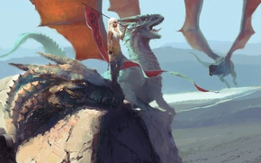Picture dragon, Game of Thrones, Daenerys Targaryen, Ice and Fire