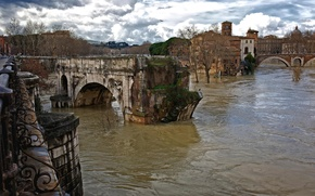 Picture Italy, ancient, old, Roman bridge, water flows, ruins, Rome, The Tiber