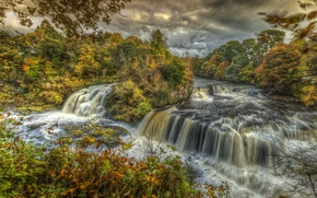 Picture trees, landscape, waterfall, Autumn