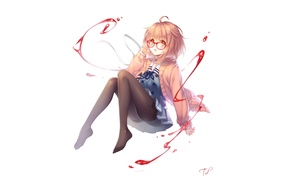 Picture look, girl, smile, magic, glasses, white background, art, tidsean, kyoukai no kanata, mirai kuriyama