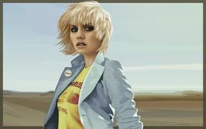 Picture Girl, Figure, Look, Blonde, Elisha Cuthbert, Postcard