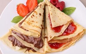 Picture berries, food, chocolate, fruit, pancakes, food, fruit, chocolate, sweet, jam, dessert, berries, jam, pancakes, sweet, …