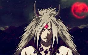 Wallpaper God of war, Naruto, Sennin, White suit, Red moon, Staff, Gray hair, The Uchiha clan, ...