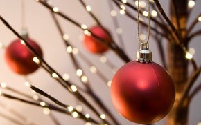 Picture holiday, widescreen, Christmas toys, blur, HD wallpapers, Wallpaper, lights, ball, full screen, background, red, widescreen, ...