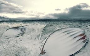 Wallpaper snow, Winter, boats