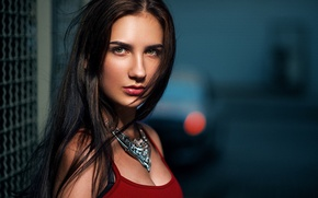 Picture girl, face, glare, model, portrait, the evening, dress, brunette, red, decoration, beautiful, the beauty, car, …