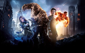 Picture Girl, City, Heroes, Sky, Fire, Fantastic, The, Wallpaper, Woman, Team, Ben Grimm, MARVEL, 20th Century …