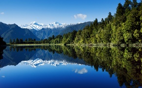 Wallpaper forest, the sky, water, mountains, lake, reflection, new Zealand