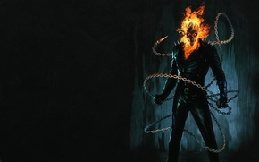 Picture the dark background, fire, chain, skeleton, Ghost Rider, Ghost rider