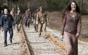 Picture metal, zombies, railroad, The walking dead, many makeup