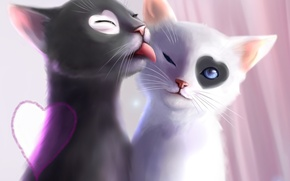 Picture language, love, cats, art, heart