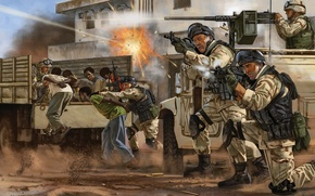 Picture weapons, figure, art, soldiers, equipment, shots, special forces, release, hostages