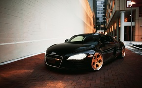 Picture car, audi r8, black, headlights
