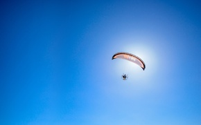 Picture the sky, the sun, wing, parachute, blue