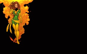 Picture girl, black background, Phoenix, phoenix, comic, x-men, Marvel Comics, X-Men, Jean Grey