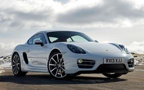Picture auto, the sky, Wallpaper, Porsche, Cayman, Porsche, the front, handsome