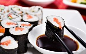 Picture food, sticks, figure, sushi, rolls, Japanese cuisine, soy sauce, nori