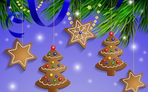 Picture snow, decoration, balls, New Year, Christmas, Christmas, Xmas, cookies, decoration, Merry