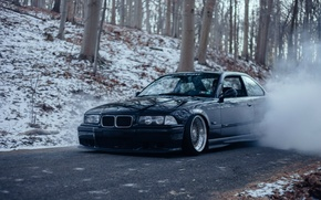 Picture bmw, forest, black, smoke, tuning, burnout, bbs, germany, low, stance, e36