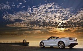Picture Convertible, The sky, Machine, Camaro, Clouds, White, Chevrolet, Sunset, Sea