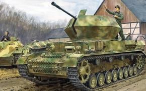 Picture figure, art, Ausf. G, APU, w/Zimmerit, Flakpanzer IV, German anti-aircraft self-propelled gun
