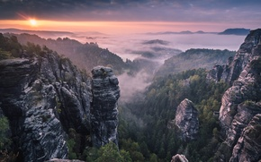 Picture morning, sunrise, mountains, fog, rocks, forest