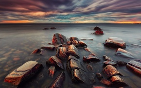 Picture sea, clouds, sunset, stones, the evening, Sweden