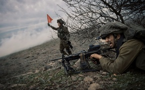 Picture weapons, background, soldiers, Israel Defense Force