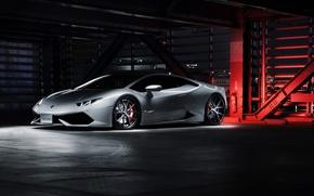 Picture Lamborghini, White, Supercar, Wheels, Concave, Huracan, LP640-4, HF-LC5, Hyperforged