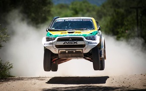 Picture Sport, Machine, Speed, Race, The hood, Day, Mitsubishi, Lights, Rally, Dakar, SUV, In the air, …