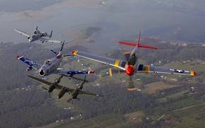 Picture flight, Mustang, aircraft, P-51, Lightning, A-10, Thunderbolt, Sabre, F-86, P-38
