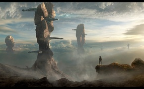 Picture the sky, landscape, fiction, rocks, people, planet, the suit