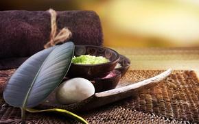 Picture leaf, towel, bowl, stone, Spa salt