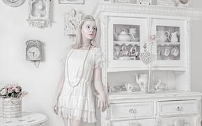 Picture watch, bouquet, porcelain, porcelain doll, Porcelain doll