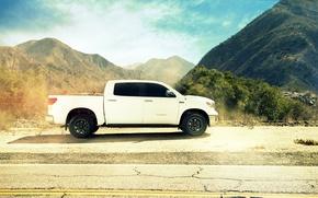 Picture profile, white, toyota, tundra, Toyota, tundra