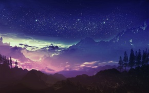 Picture the sky, stars, clouds, mountains, night, art, and-k
