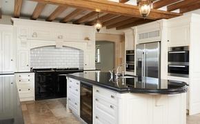 Picture white, refrigerator, kitchen, plate, wardrobe, mansion, luxury, Design, headsets, Interior, Kitchen