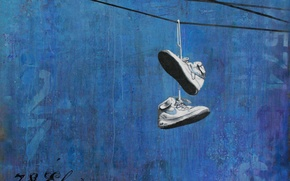 Picture blue, room, Nike, Sneakers