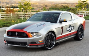 Picture Ford, grey, Muscle car, background, tuning, Muscle car, coupe, Red Tails, the front, Mustang, tuning, ...