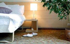 Wallpaper comfort, house, room, Wallpaper, bed, interior, bedroom, Slippers