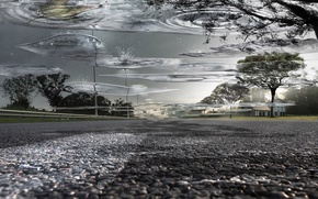 Wallpaper puddle, water, road