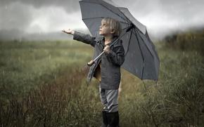 Picture rain, umbrella, boy