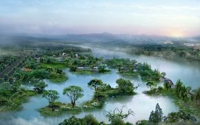 Wallpaper fog, trees, river, landscapes